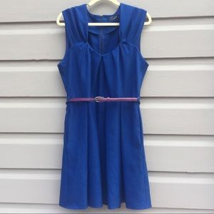ModCloth Royal Blue Fit and Flare Dress 12